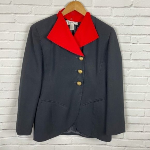 Christian Dior Vintage Blazer Red Black Wool